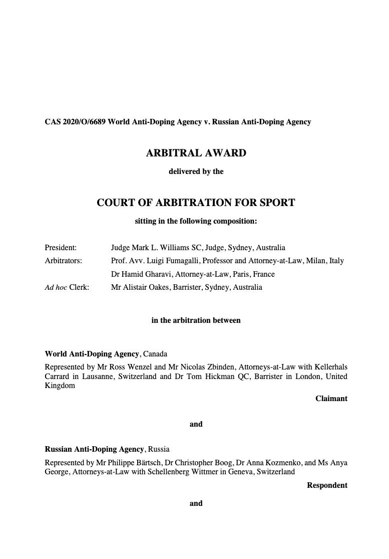Титульный лист Мотивированного решения Спортивного Арбитража в Лозанне